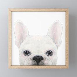 French bulldog white Dog illustration original painting print Framed Mini Art Print