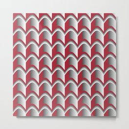 Abstract Red&Grey Pattern Metal Print