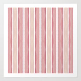 Blush Pink Coral Striped Pattern Art Print