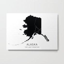 Alaska State Road Map Metal Print