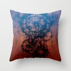 Steampunk clock Throw Pillow