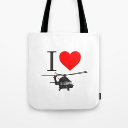 I Love Helicopters Tote Bag