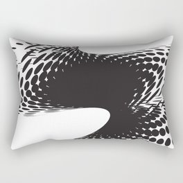 BLACK DOTS SWIRL ON A WHITE BACKGROUND Abstract Art Rectangular Pillow