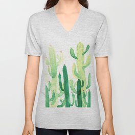 Green Cactus Unisex V-Neck