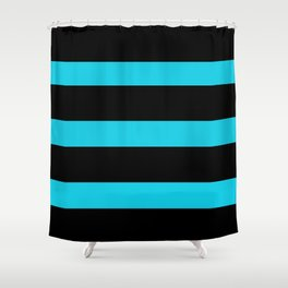 Hollywood Nights Black and Teal Stripes Shower Curtain