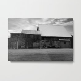 Old Barn with Tires Metal Print