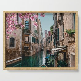 Spring Venice emerald canal with old building  Serving Tray