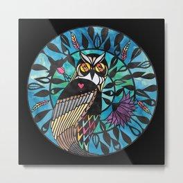 Owl - Paper cut design Metal Print