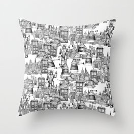Doctor Who Toile de Jouy | 'Walking Doodle' | Black Throw Pillow