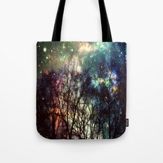 Black Trees Deeply Colorful Space Tote Bag