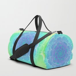 Romantic blue and green flower, digital abstracts Duffle Bag