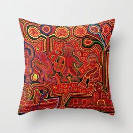 Kuna Indian Men in Canoes Throw Pillow