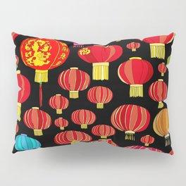 Lanterns on Black Pillow Sham