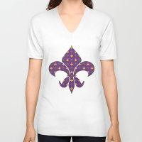 fleur de lis V-neck T-shirts featuring Mardi Gras Fleur De Lis by Empire Ruhl