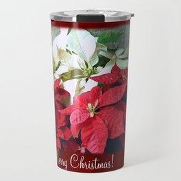 Mixed color Poinsettias 3 Merry Christmas P5F1 Travel Mug