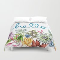 spring Duvet Covers featuring hello spring by Brooke Weeber