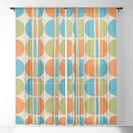 Mid Century Modern Geometric Pattern 146 Beige Orange Olive and Cyan Sheer Curtain