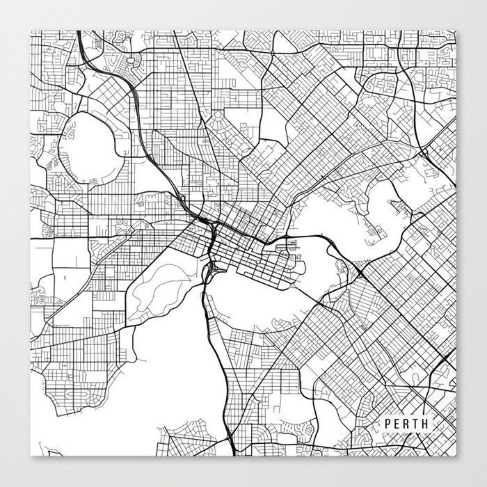perth map australia white canvas print