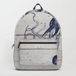Navy Blue Deep Ocean Giant Squid On Barnboard Backpack