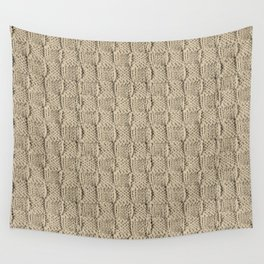Sepia Knit Textured Pattern Wall Tapestry
