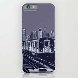 New York, NYC, Subway Train Yard at Night. (Photo collage, travel, gritty streets, graffiti) iPhone Case