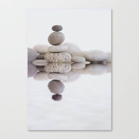 Stone Balance pebble cairn and water Canvas Print