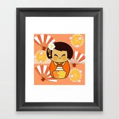 Kokeshi Momo Framed Art Print