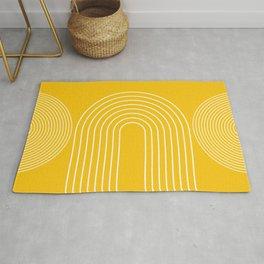 Geometric Lines in Mustard Yellow 3 (Rainbow abstract) Rug