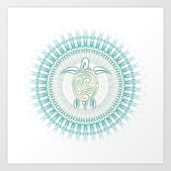 Turquoise Green Turtle And Mandala Art Print