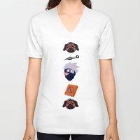 kakashi V-neck T-shirts featuring Kakashi Pattern by Palloma