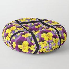 PURPLE-YELLOW PANSIES ON BLACK GRID Floor Pillow