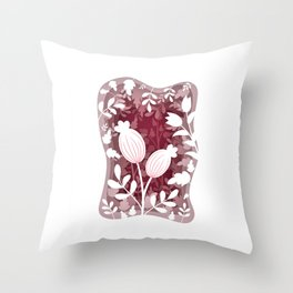 Floral layred 3D cave in pink shades Throw Pillow