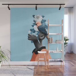 Girl with parrot Wall Mural