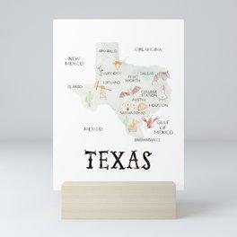 Watercolor Texas Map Mini Art Print