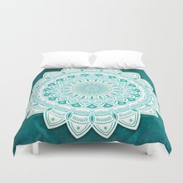 White Mandala on Blue Green Distressed Background with Detail and Textured Duvet Cover