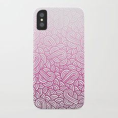 Gradient pink and white swirls doodles Slim Case iPhone X