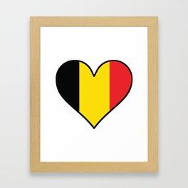 Belgian Flag Heart Framed Art Print