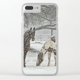 2 Horses under a tree in winter Clear iPhone Case