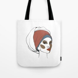 African American woman in headscarf with makeup. Abstract face. Fashion illustration Tote Bag