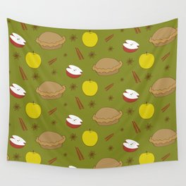 Sweet pattern with apple and cinnamon and pie Wall Tapestry