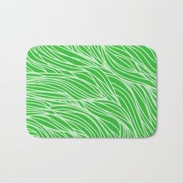 Grass Green Wave Lines Bath Mat