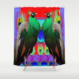 GREEN PEACOCKS & RED-PURPLE  MODERN ART Shower Curtain