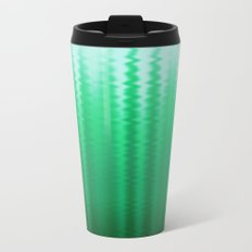 Green and Blue Ombre Soft Wavy Lines Metal Travel Mug