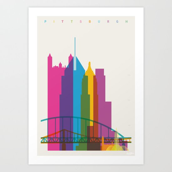 Shapes of Pittsburgh. Accurate to scale Art Print