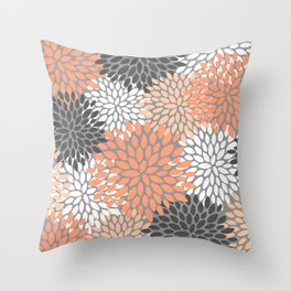Floral Pattern, Coral, Gray, White Throw Pillow