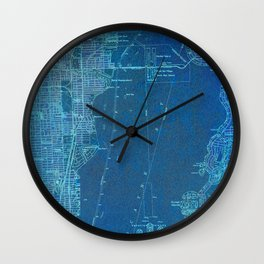 Miami Florida vintage map year 1950, blue usa maps Wall Clock