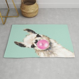 Bubble Gum Sneaky Llama in Green Rug