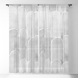 Watercolor Scallops in Gray Sheer Curtain