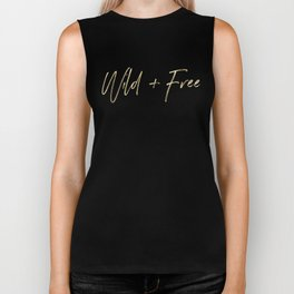 Wild And Free - Gold on Forest Ferns Biker Tank