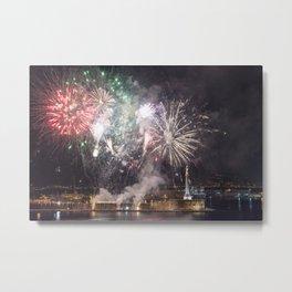 Fireworks on the sea Metal Print